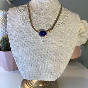 Vintage Avon gold necklace blue stone